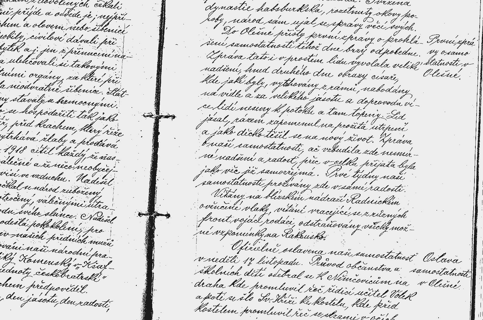 Ukázka zápisu v kronice obce Olešná.jpg